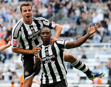 Cock of the North: Shola celebrates.