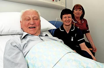 Sir Bobby at the Freeman Hospital.