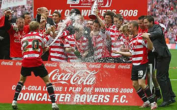 Doncaster: Shooting their loads after being promoted in 2008.