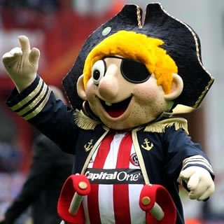 Sheffield Utd's mascot, 'Captain Blade'.