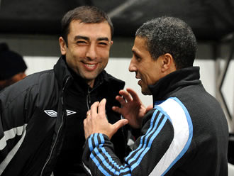 Roberto Di Matteo and Chris Hughton yesterday.
