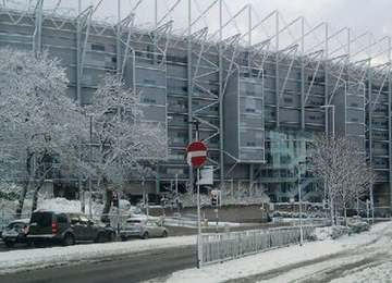 Snowy St James' Park.