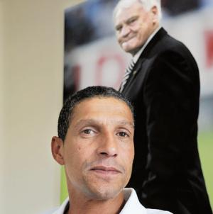 Hughton: Defending his little angels.