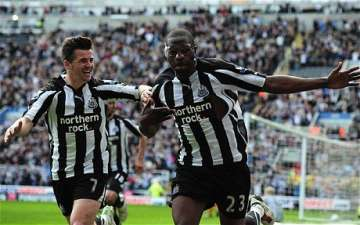 Strolla after banging in the second Newcastle goal.