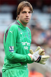 Tim Krul on one of his murderous rampages.
