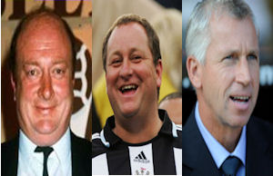 Graham Carr, Mike Ashley and Alan Pardew - Newcastle decision makers.