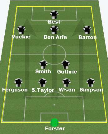 Newcastle's starting 11 against Darlington.