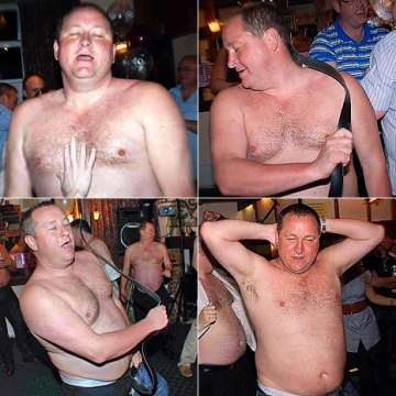 Mike Ashley stripping and flagellating himself.