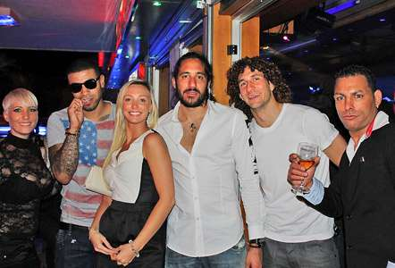 Leon Best, Jonas Gutierrez and Fabricio Coloccini in Tenerife.
