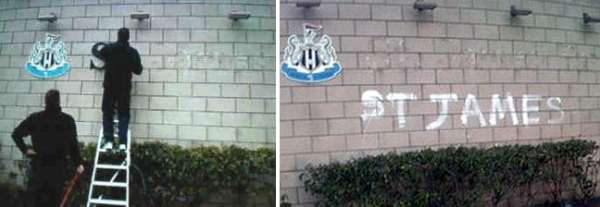 St James' Park sign being removed.