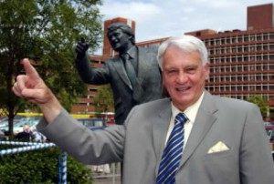 Sir Bobby Poses At His Ipswich Statue