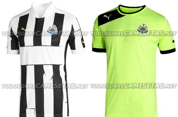 Newcastle United 2012/13 home and third shirts.