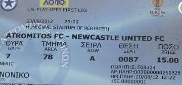 Atromitos v NUFC ticket.