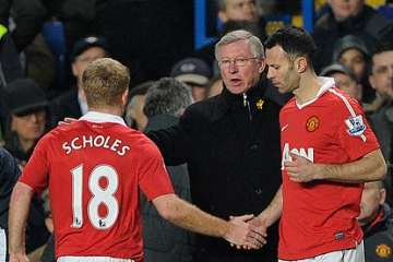 Paul Scholes, Alex Ferguson and Ryan Giggs.