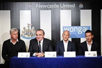 Alan Pardew, Derek Llambias and Wonga.