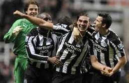 Andy Carroll after scoring for Newcastle United.
