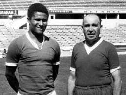 Bela Guttmann with Eusebio.