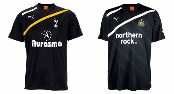 Tottenham and Newcastle United third kits 2011-12.