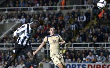 Papiss Cisse scoring against Leeds United in the League Cup.
