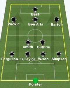 Newcastle's starting 11 against Darlington.