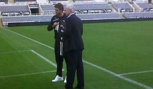 Davide Santon with Alan Pardew.