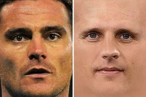 Steve Harper and Peter Lovenkrands: Looking for a way oot.