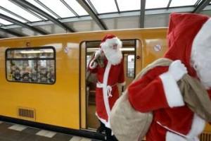 Santas on the metro.