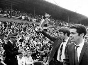 Clarke and Moncur with the Fairs Cup.
