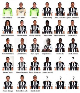 NUFC's current first team squad.