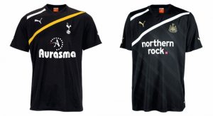 Tottenham and Newcastle United third kits 2011-12.