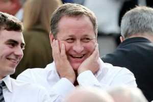 Mike Ashley laughing.